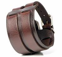 Шкіряний браслет-напульсник з подвійним ремінцем Spikes SL0027-K, фото 1
