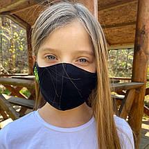 """Подростковая защитная маска для лица """"Quarantine"""" черно-зеленая, фото 2"""