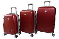 Чемодан Bonro Smile с двойными колесами набор 3 штуки бордовый, фото 1