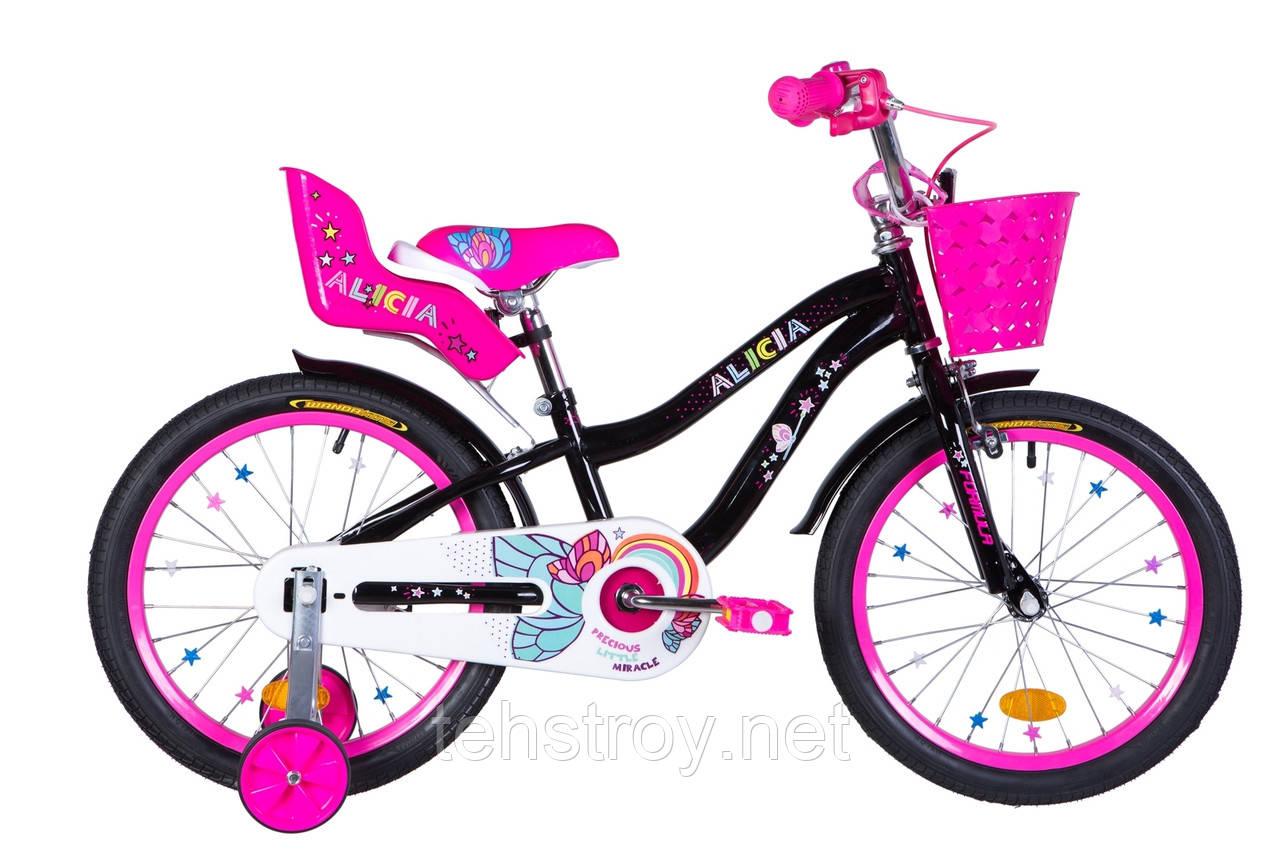 """Велосипед 18"""" Formula ALICIA 2020 (черный с розовым)"""
