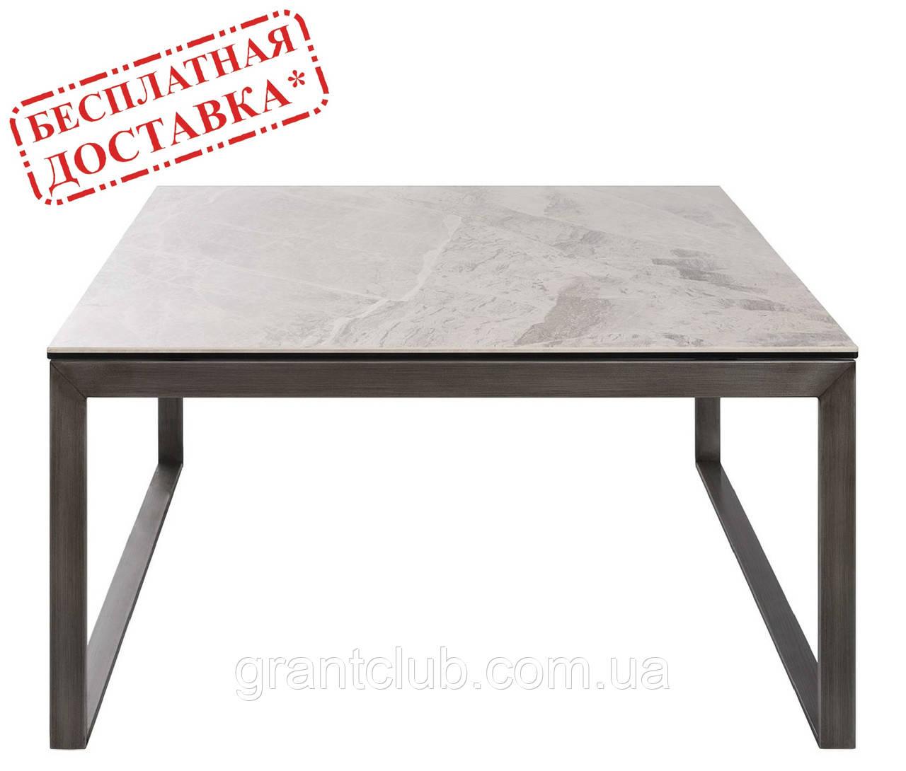 Стол журнальный BRIGHTON S (90х90х45 см) керамика светло-серый глянец Nicolas (бесплатная доставка)