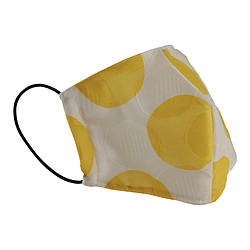 Многоразовая защитная маска для лица белая с желтыми кружочками (размер M)