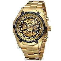 Водонепроницаемые мужские классические часы Winner TM340 с автоподзаводом (тех пакет) Золотой