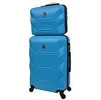 Комплект валіза + кейс Bonro 2019 (середній) блакитний, фото 1