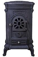 Камин печь буржуйка чугунная Bonro черная двойная стенка 9 кВт