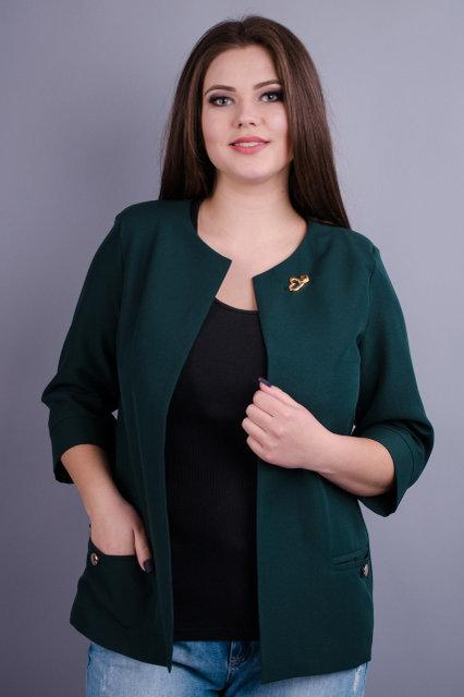 Жакет женский офисный большого размера Омега изумруд