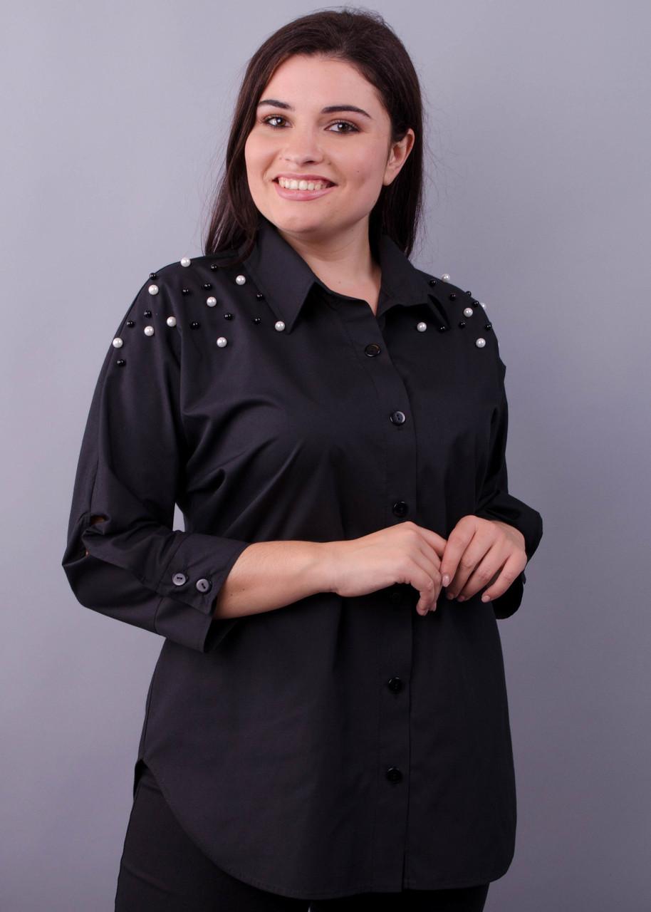 Рубашка женская офисная большого размера Магда черный