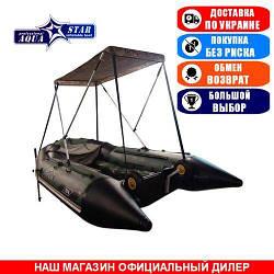 Тент для надувной моторной лодки Aqua Star K-370. (Лодочный тент на лодку 3,70м);