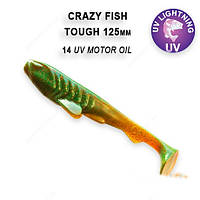"""Силикон Сrazy Fish TOUGH 5"""" УФ моторное масло кальмар 28-125-14-6"""