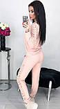 Костюм женский брючный спортивный с гипюром карманами и манжетами 42 44 46 48 50 Р, фото 9