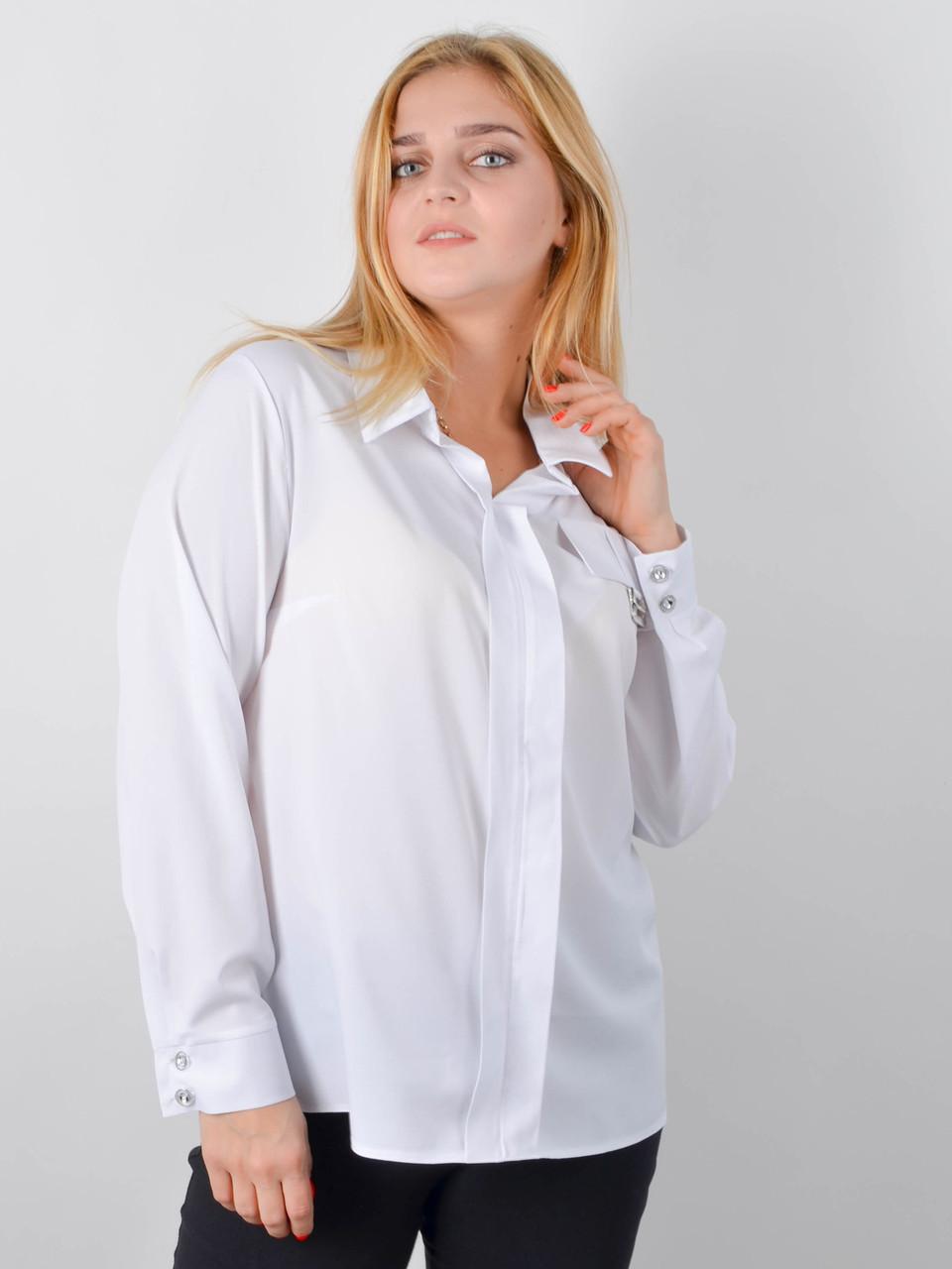 Блузка офісна великого розміру Петра білий