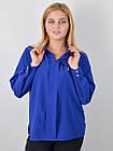 Блузка классическая большого размера Петра электрик, фото 2