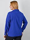 Блузка классическая большого размера Петра электрик, фото 4