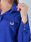 Блузка классическая большого размера Петра электрик, фото 5