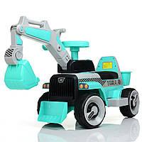 Детский электромобиль Трактор с подвижнім ковшом M 4144L-4 бирюза