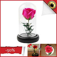 Роза в колбе с led маленькая №a51 красный