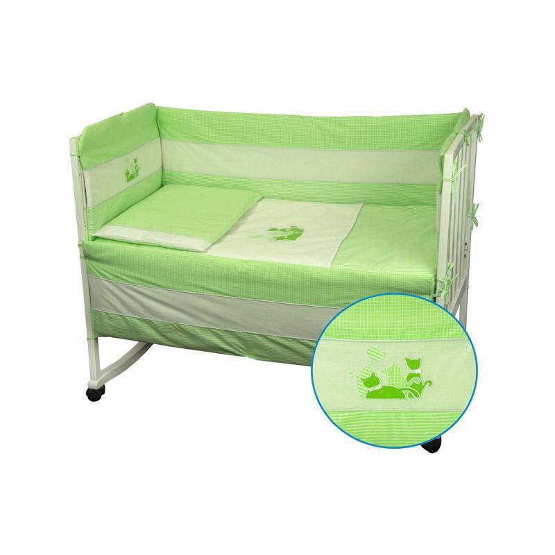 Защитное ограждение для кроватки Руно Котята Салатовый 60х120 см (922Кошенята_Салатовий)