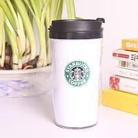 Термокружка тамблер Starbucks (Старбакс) 380 мл Белая Модель 1