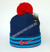 Шапка Nike с бубоном красно-синяя. Подклад флис