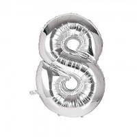 Шарик Цифра (80см) серебро 8