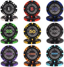 """Пробный набор по одной фишке для покера """"Elite Poker Tournament"""""""