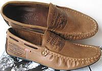 Стильные коричневые кожаные мужские мокасины в стиле Levis весна лето осень туфли, фото 1