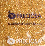Бісер 17020 matt, №10, Preciosa (Чехія), світло-бурштиновий блискучий матовий, прозорий