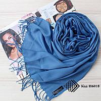 Турецкий синий шарф из тонкой пашмины 116018