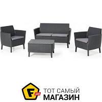 Стол с креслами и диваном пластик,полипропилен Allibert Salemo set, серый