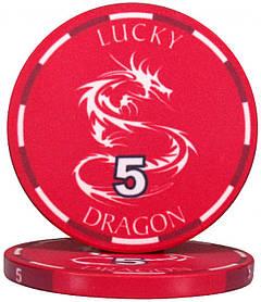 """Керамическая фишка """"Lucky Dragon"""" номинал 5"""