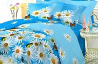 """Семейное постельное белье """"GOLD"""" комплект на голубом белые ромашки"""