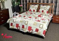 """Семейное постельное белье """"GOLD"""" комплект с красными кубиками"""