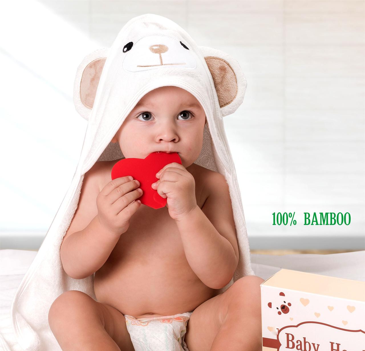Премиальное Детское Полотенце с Капюшоном - Полотенце Уголок (от 0- 5 Лет) -Банное Полотенце - Бонус:Мочалка