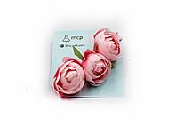 """Детская повязочка для волос розовая, эластичная, оne size с цветами """" Розетта"""""""