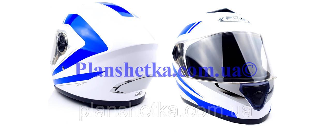 Мотошлем FXW HF-112 белый с синей полосой