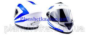 Мотошолом FXW HF-112 білий з синьою смугою