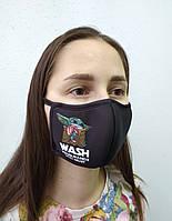 "Маска защитная для лица многоразовая тканевая Deko ""baby yoda"""