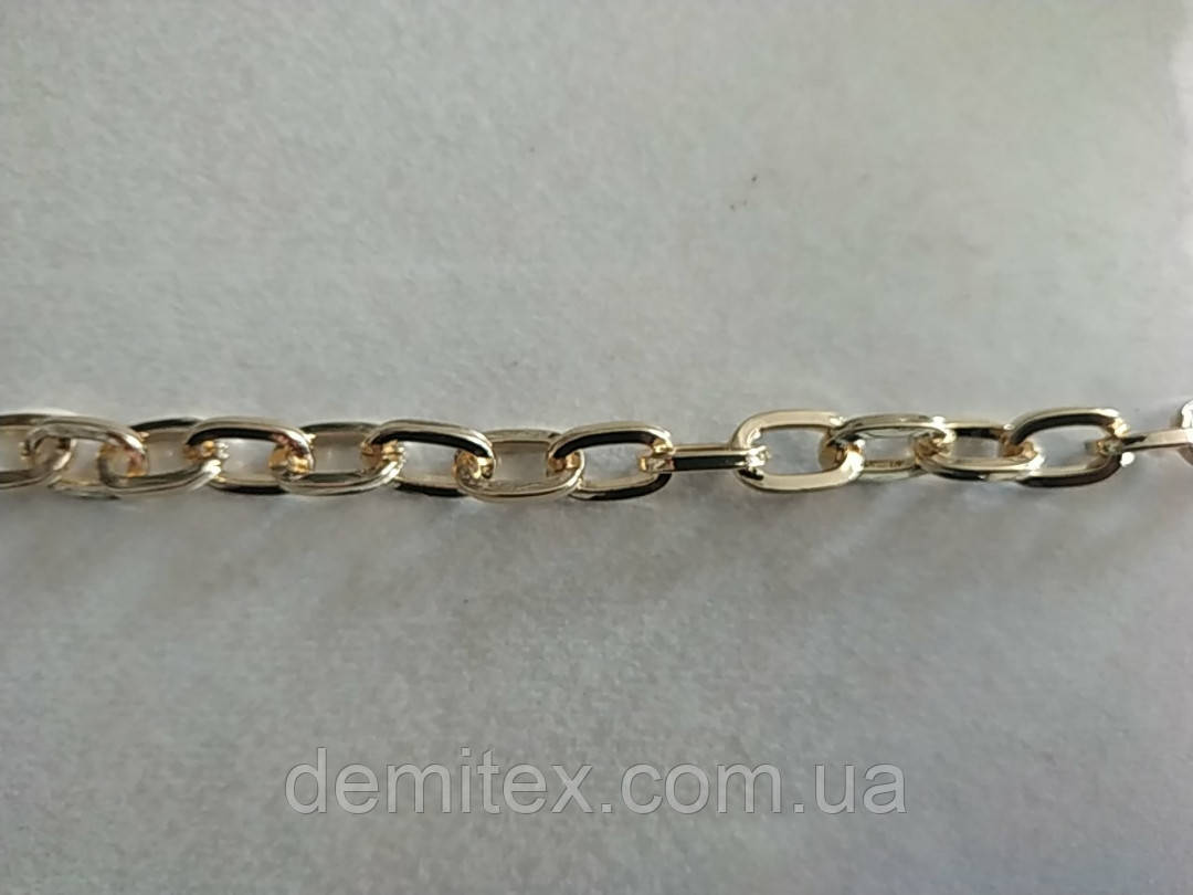 Цепочка якорная стальная золото ширина наружная 14мм, высота 9мм, толщина 2мм