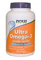 Now Foods, Ультра Омега-3, 180 желатиновых капсул