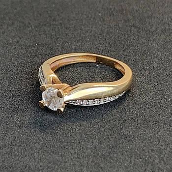 Золотое кольцо с фианитами 585 пробы, размер 16,5
