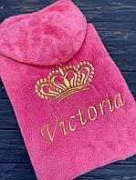 Халат женский махровый теплый (софт) Massimo Monelli с именной вышивкой