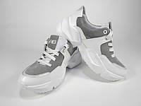 Модные замшевые кроссовки серого цвета на массивной подошве. Удобный и элегантный дизайн. 36, 37, 38, 39, 40р