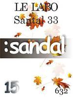 Парфюмерное масло (632) версия аромата Ле Лабо Santal 33 - 15 мл композит в роллоне