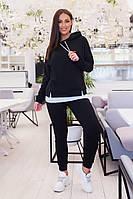 """Женский трикотажный спортивный костюм """"CONVERSE"""" с капюшоном и карманами (большие размеры)"""