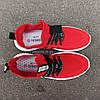 Красные мужские кроссовки носки в стиле Adidas yeezy boost v2 носки на подошве ткань текстиль сетка, фото 4