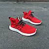 Красные мужские кроссовки носки в стиле Adidas yeezy boost v2 носки на подошве ткань текстиль сетка, фото 6