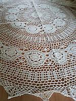 Скатерть 150 см круглая, ажурная натуральный лен бежевого  цвета