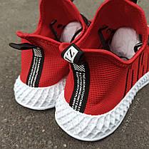 Красные мужские кроссовки носки в стиле Adidas yeezy boost v2 носки на подошве ткань текстиль сетка, фото 2