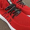 Красные мужские кроссовки носки в стиле Adidas yeezy boost v2 носки на подошве ткань текстиль сетка, фото 3
