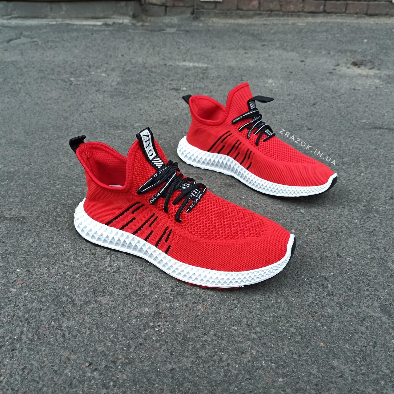 Красные мужские кроссовки носки в стиле Adidas yeezy boost v2 носки на подошве ткань текстиль сетка